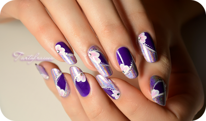 Purple holographic nails