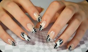 Checkerboard nail art optical illusion by Tartofraises