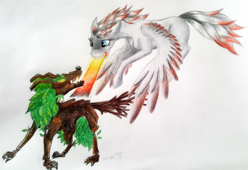 Fight with timberwolf by Cahandariella