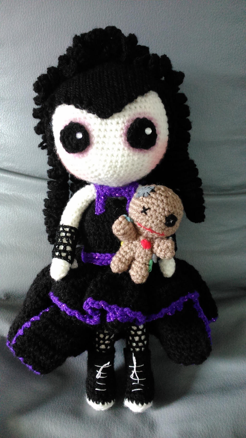 Crochet Amigurumi Voodoo Doll : Gothic Amigurumi doll with Voodoo doll by Anaseed on ...