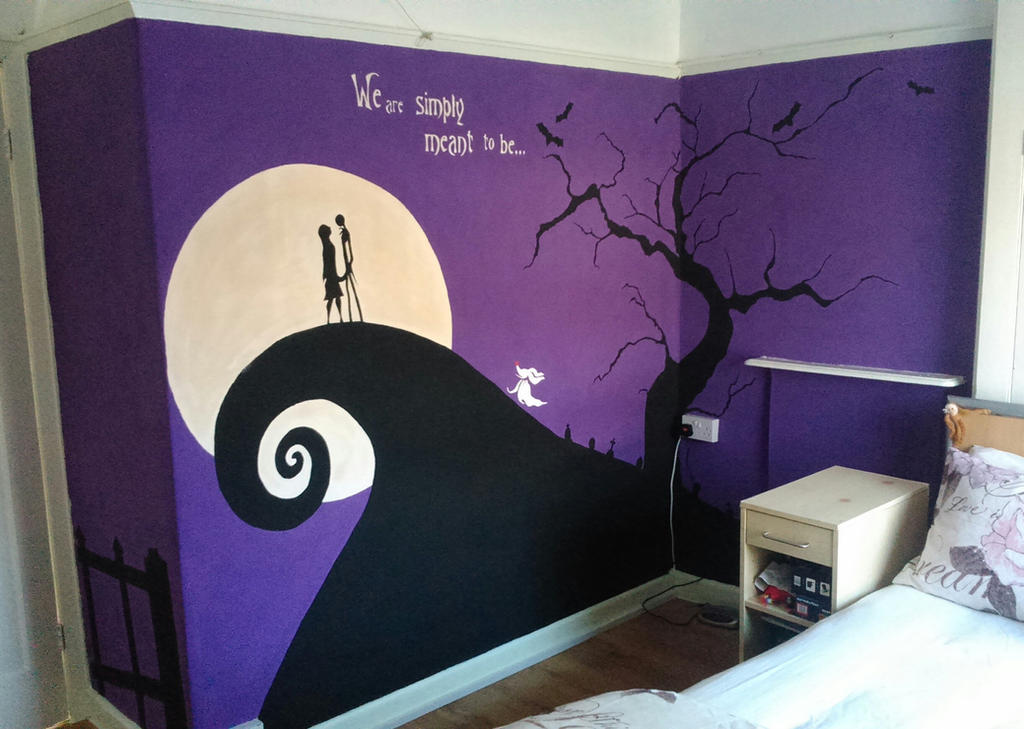 nightmare before christmas wall mural finished by anaseed on
