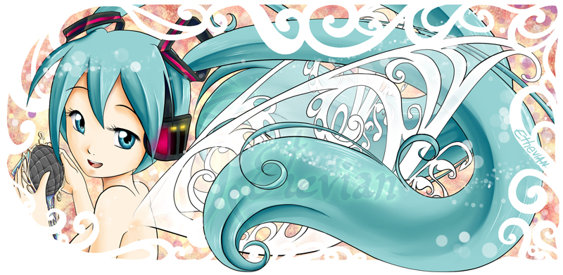 Miku Fairy and a bit Art Nouveau MUG Design by Ethevian