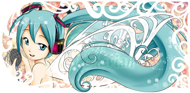 Miku Fairy and a bit Art Nouveau MUG Design by Ethevian