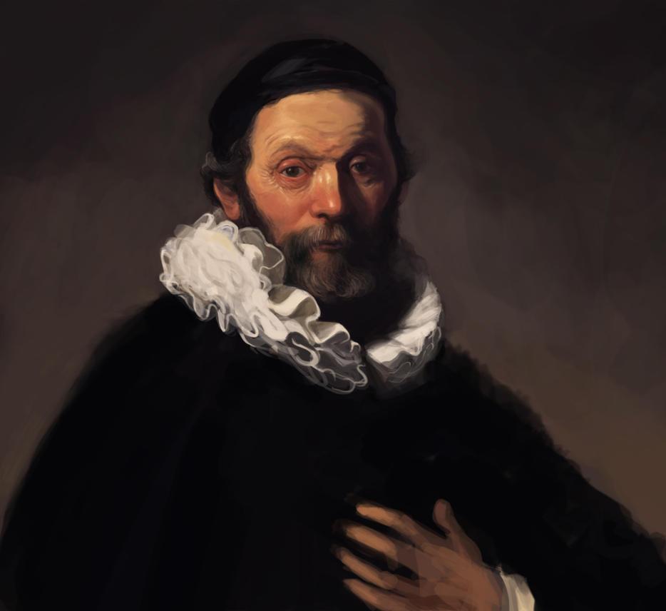 Study: Rembrandt/Portrait of Johannes Wtenbogaert by lordFelwynn