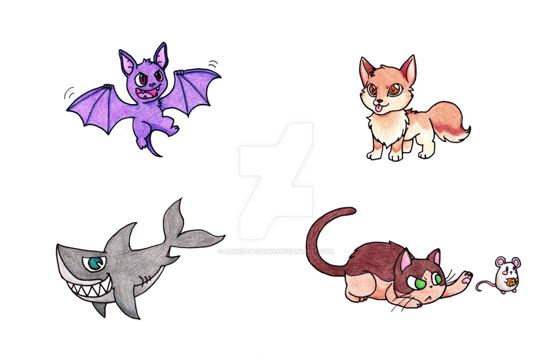New cartoon animals by Ashen-Phoenix