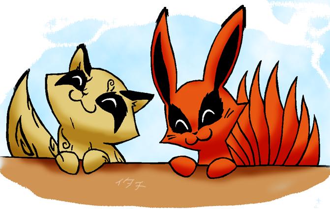 Chibi Shukaku and Kyuubi by Eeveetachi
