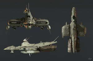 3D Space Frigate by EastCoastCanuck
