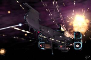 Destroyer in Battle by EastCoastCanuck