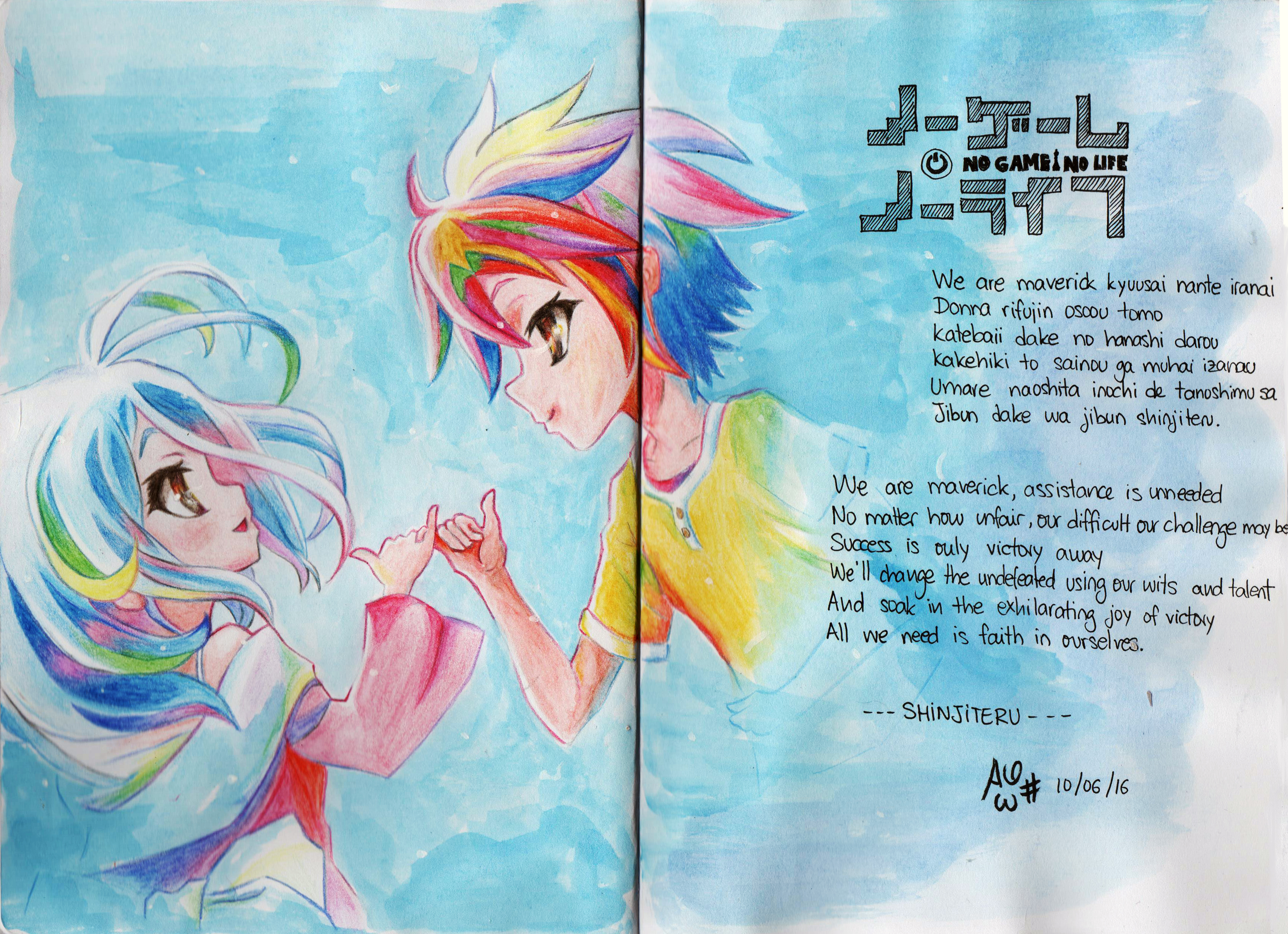 Game with watercolor -  No Game No Life Shiro And Sora By F1r3lectrical