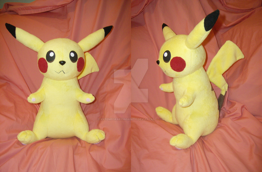 Pikachu Plush + PATTERN by xxtemporaryinsanity