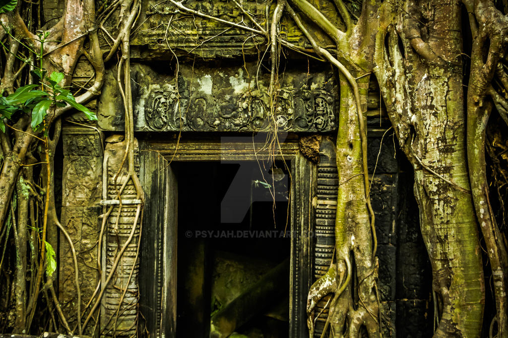 Angkor Wat - Temple Door by PsyjaH