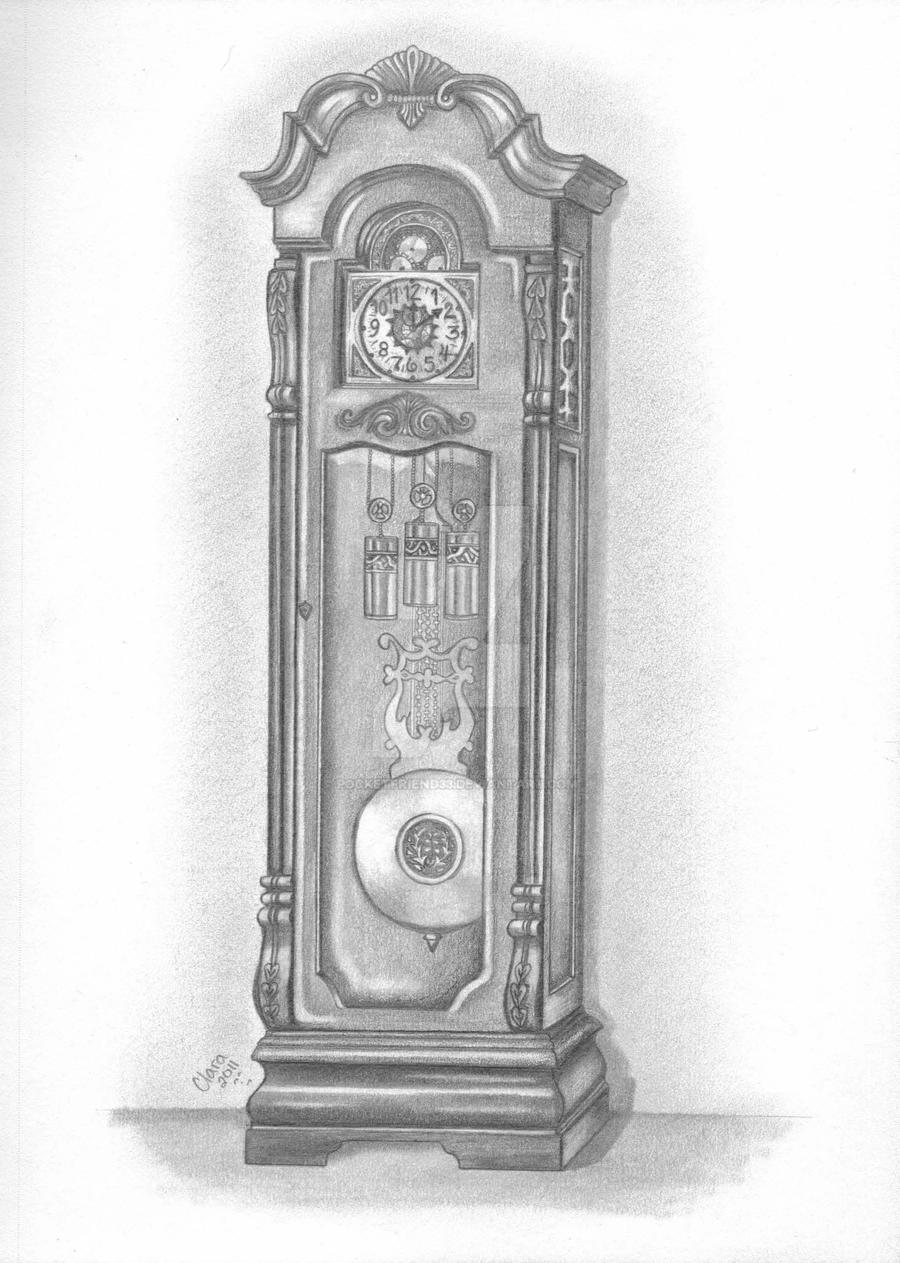 Grandfather Clock Pencil Drawing