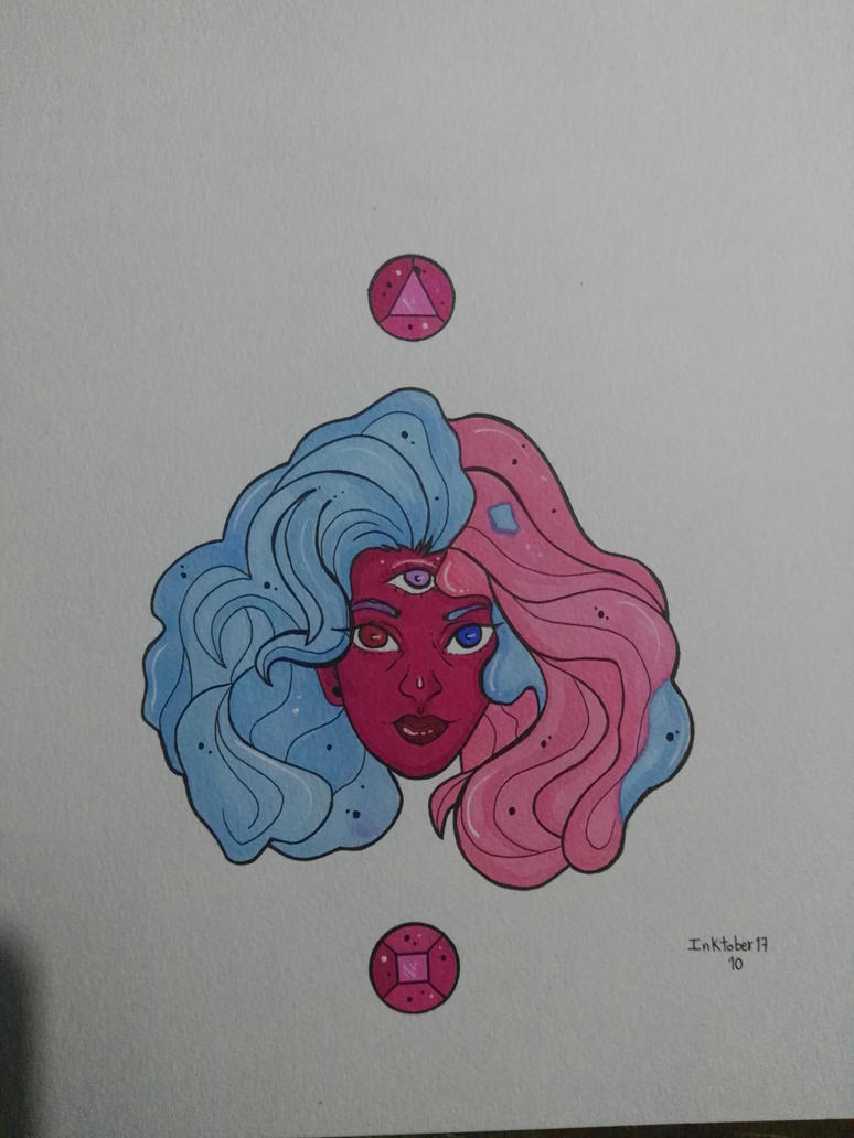 This is my Inktober illustration for day 10: Garnet - Steven Universe, made with color markers and white ink