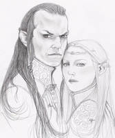 Elrond and Celebrian by Sayurisye