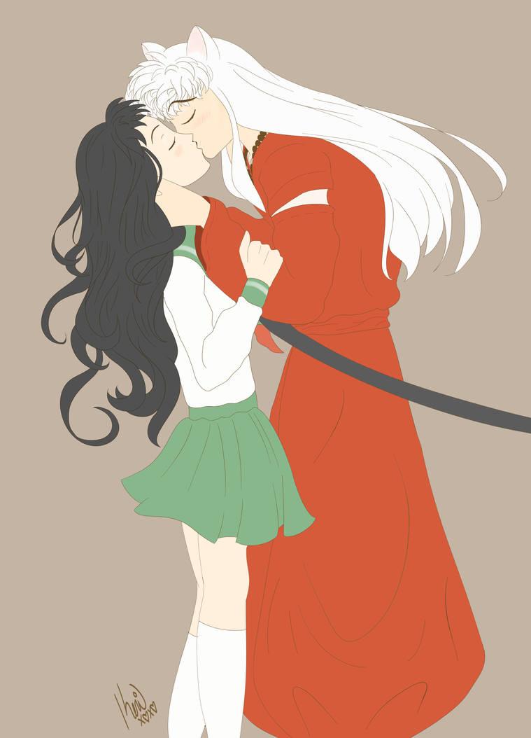 Inuyasha X Kagome Kiss Matte Fan Art By Queenkeri On Deviantart
