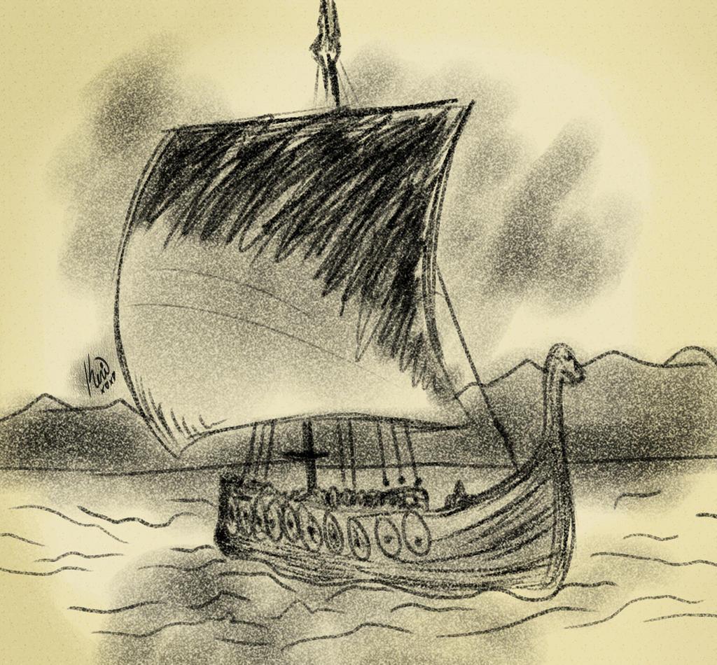 viking ship charcoal sketch by queenkeri on deviantart