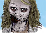 The Walking Dead's Zomibe Girl in color