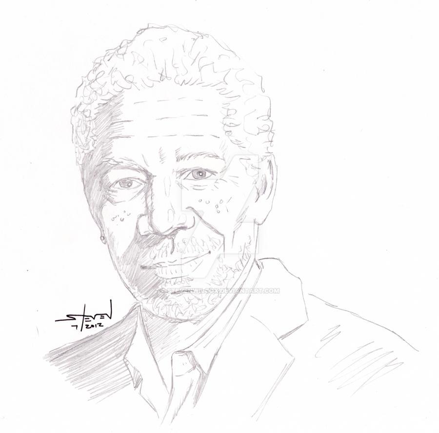 Morgsan Freeman pencil portrait