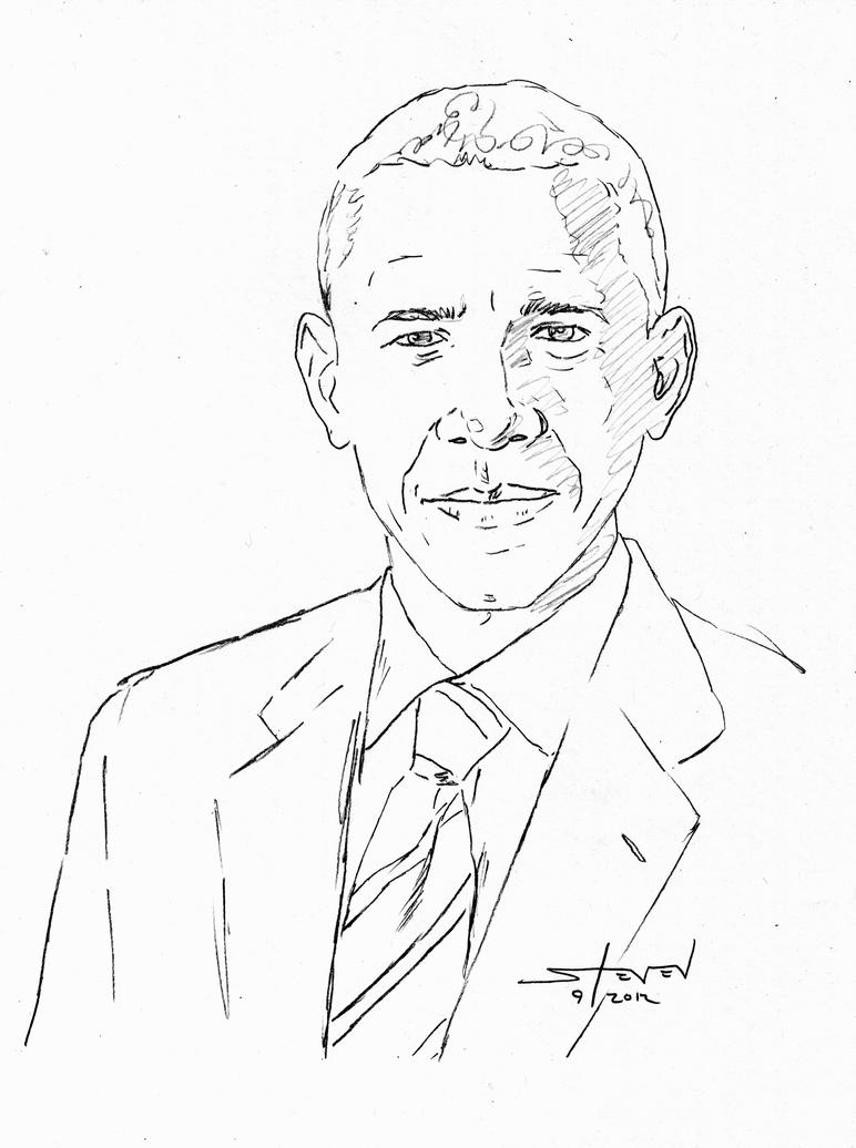 Man S Face Line Drawing : Obama sketch by stevenwilcox on deviantart