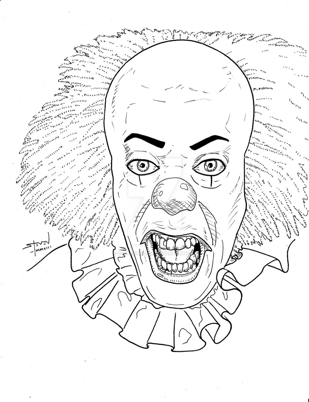 Pennywise the clown by stevenwilcox on deviantart for Clowns coloring pages