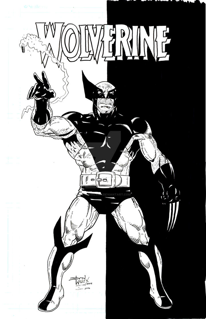 Wolverine Black and White Byrne Homage by StevenWilcox