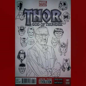 Stan Lee with the John Byrne style Marvel Heads
