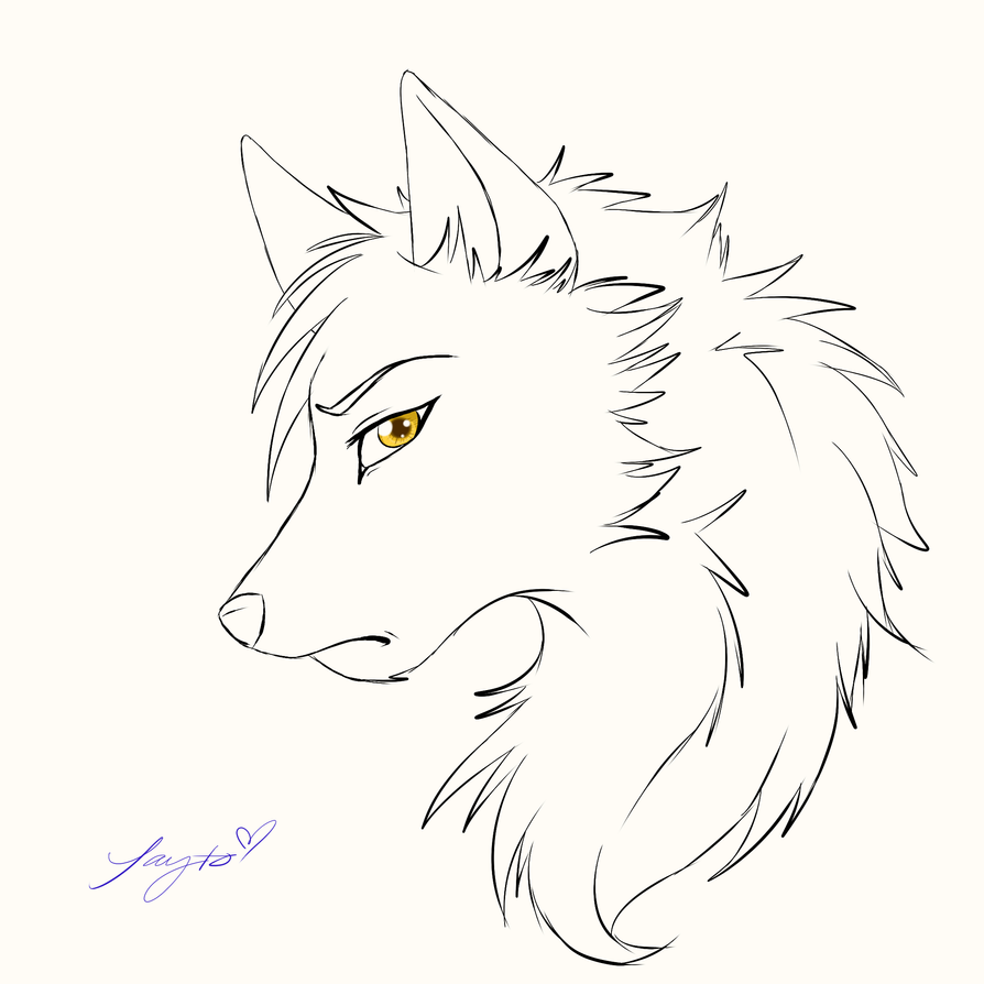 Wolf face outline