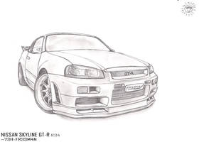 Nissan Skyline R34 Drawing by Revolut3 on DeviantArt