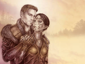 Dragon Age King Alistair and Merrill commission