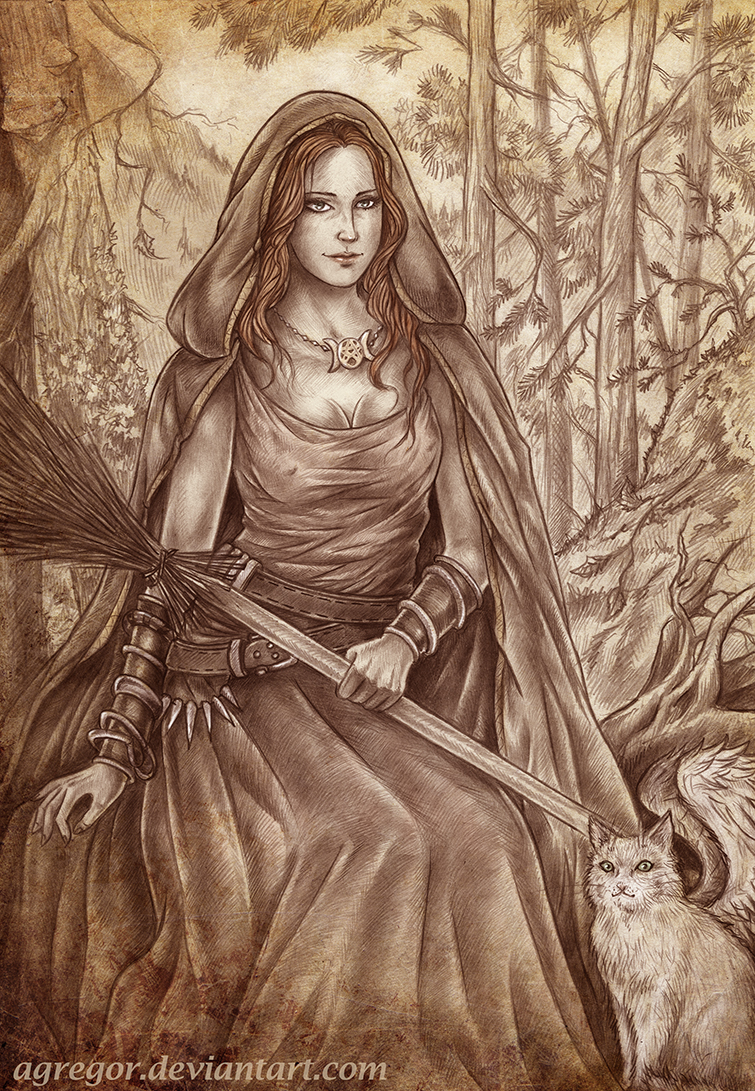 Larina Nix and her winged cat  by Agregor
