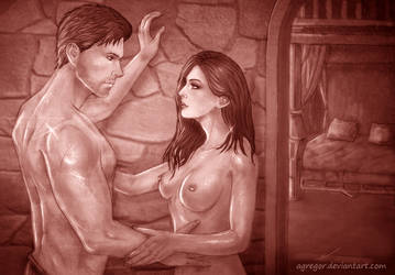 Hyperia Amell and Cullen Rutherford sepia by Agregor
