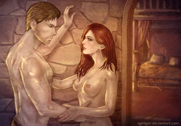 Hyperia Amell and Cullen Rutherford color by Agregor