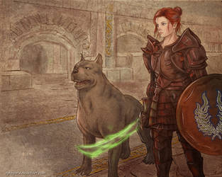 Talentha and her mabari dog by Agregor