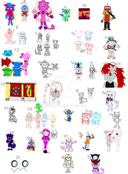 List of huge unfinished art work and characters