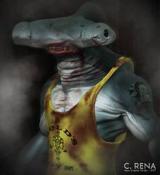 Hammerhead Bodybuilder Shark by Aliengraphic