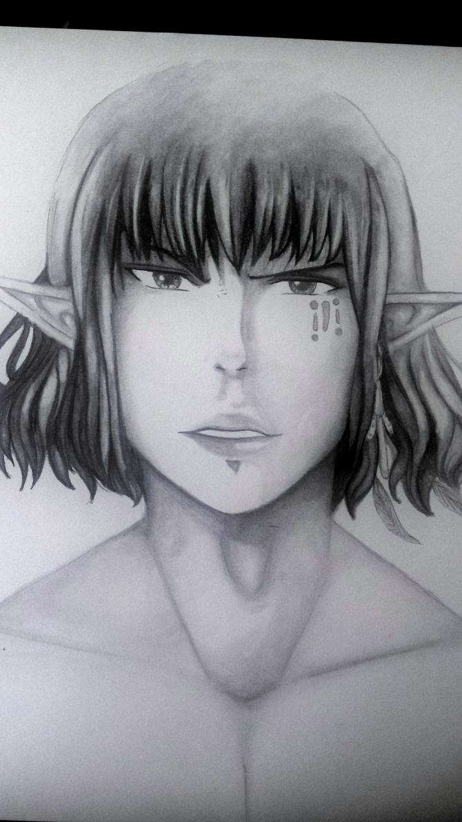 Elven Warrior Traditional Pencil Sketch By LucLeigh