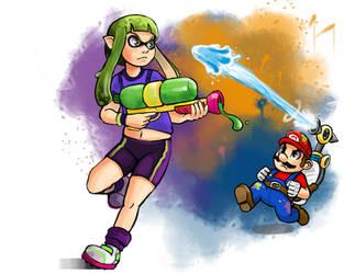 Splatoon vs Mario by Chicken--Scratch