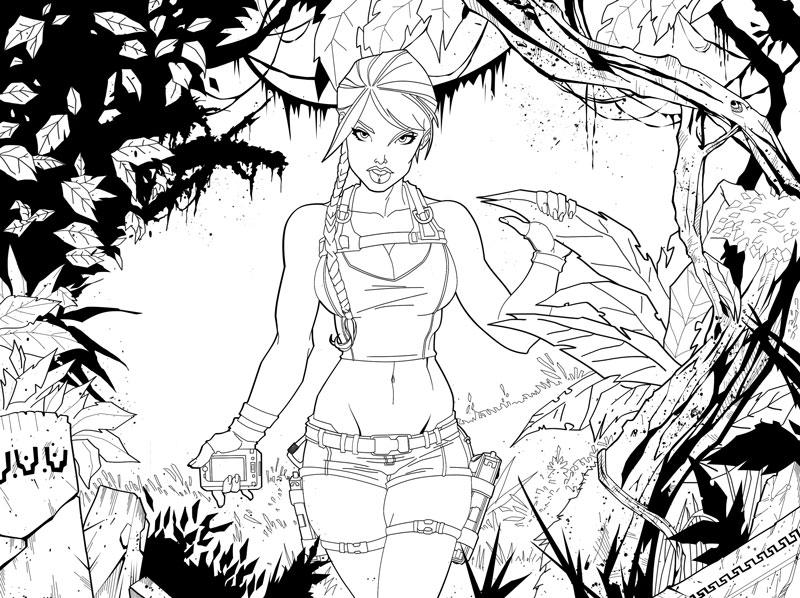 lara croft by yagamii - Lara Croft Coloring Pages