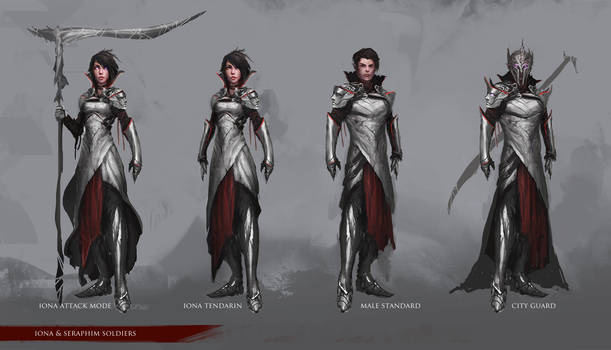 Character Design: Iona and Seraph soldiers