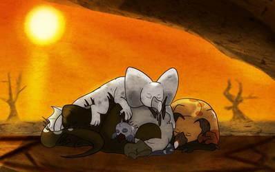 Sleep pile by Rosedraq