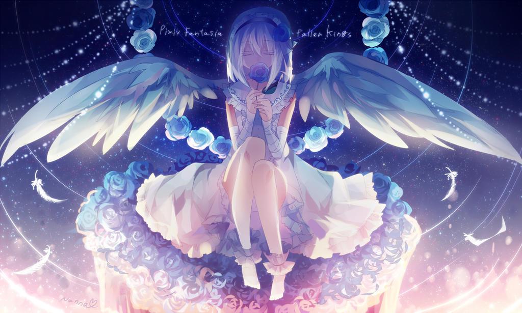 Blue rose of white angel
