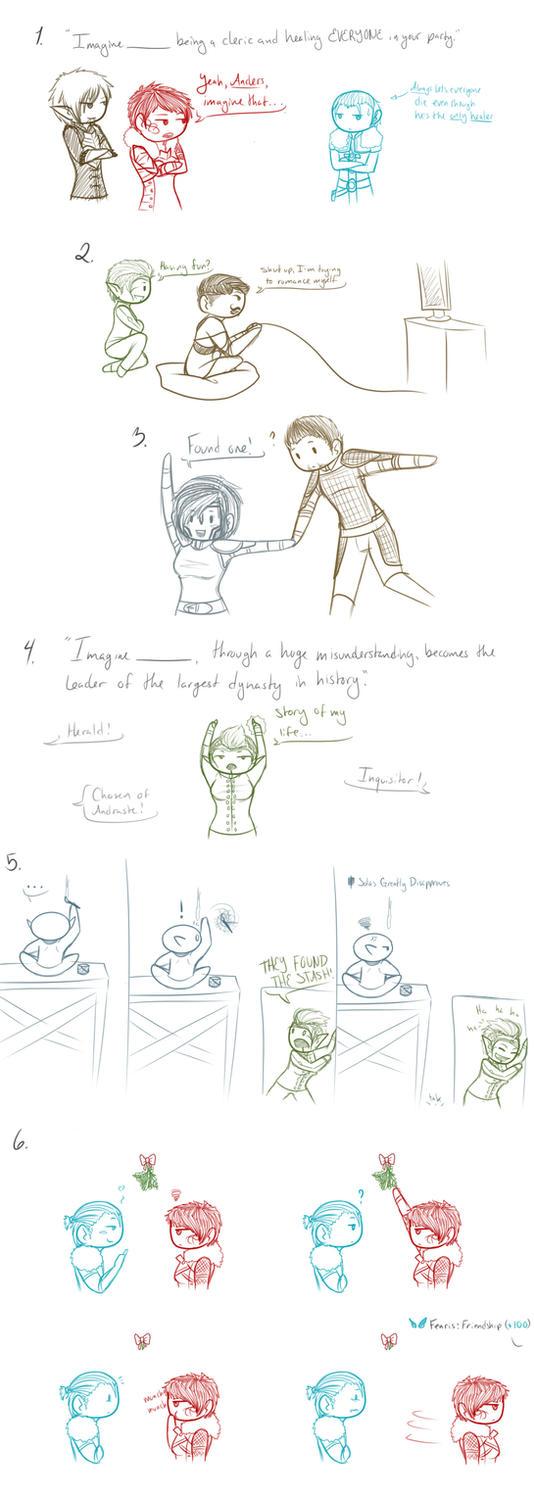 Dragon Age doodles by SuzumeKirei