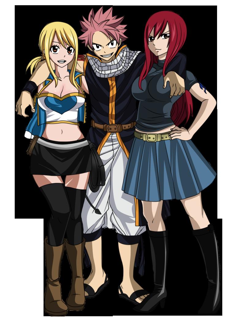 Natsu, Erza y Lucy by juli95 on DeviantArt