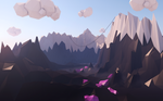 Low Poly Cel Mountain Clouds