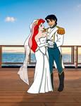 Ariel Wearing a Mermaid Wedding Dress