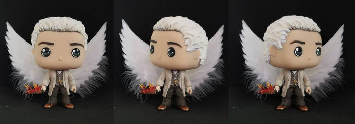 Aziraphale with Flaming Sword and Wings