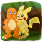 Charmander and Pikachu by DarlanSpace