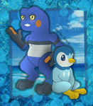Croagunk and Piplup by DarlanSpace