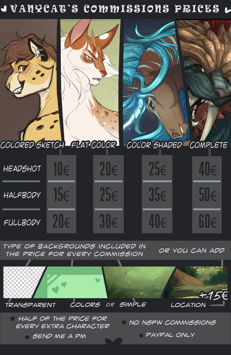 Vanycat Commission prices - NEW sheet [CLOSED]