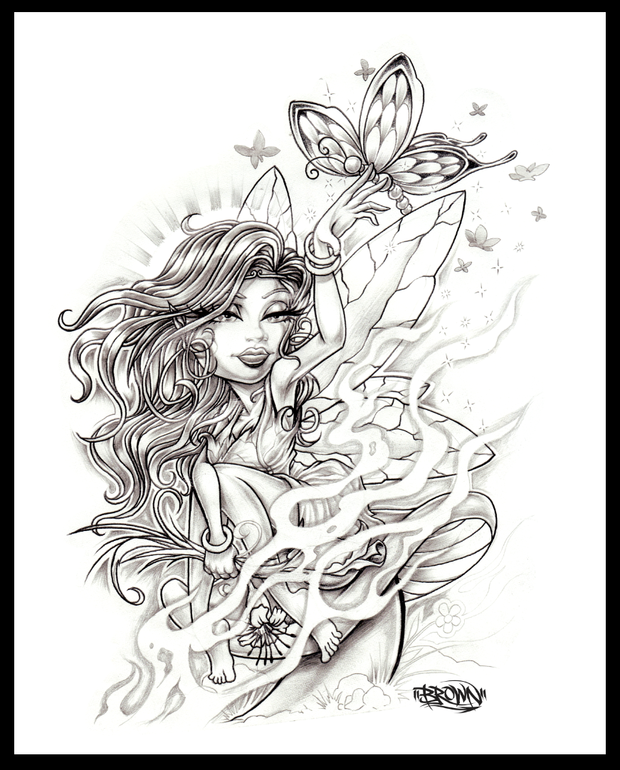 Fairy mushroom tattoo by brown73 on deviantart for Fairy on a mushroom drawing